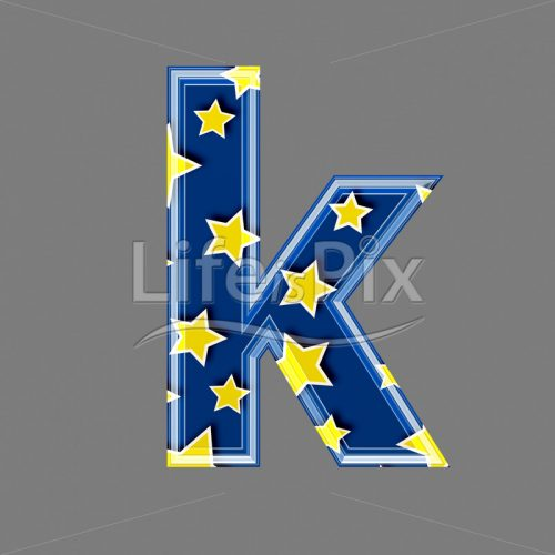 3d blue lowercase letter with star pattern – K – Royalty free stock photos, illustrations and 3d letters fonts