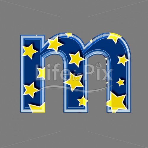 3d blue lowercase letter with star pattern – M – Royalty free stock photos, illustrations and 3d letters fonts