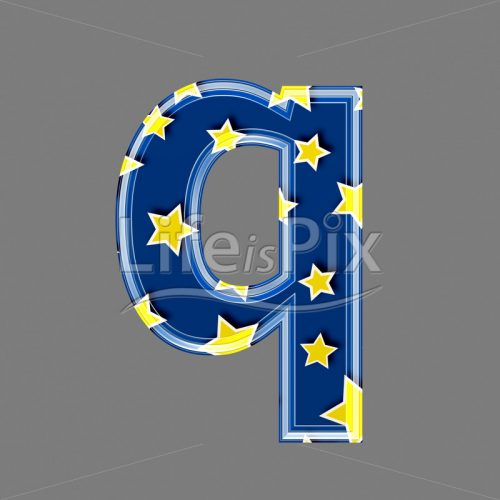 3d blue lowercase letter with star pattern – Q – Royalty free stock photos, illustrations and 3d letters fonts