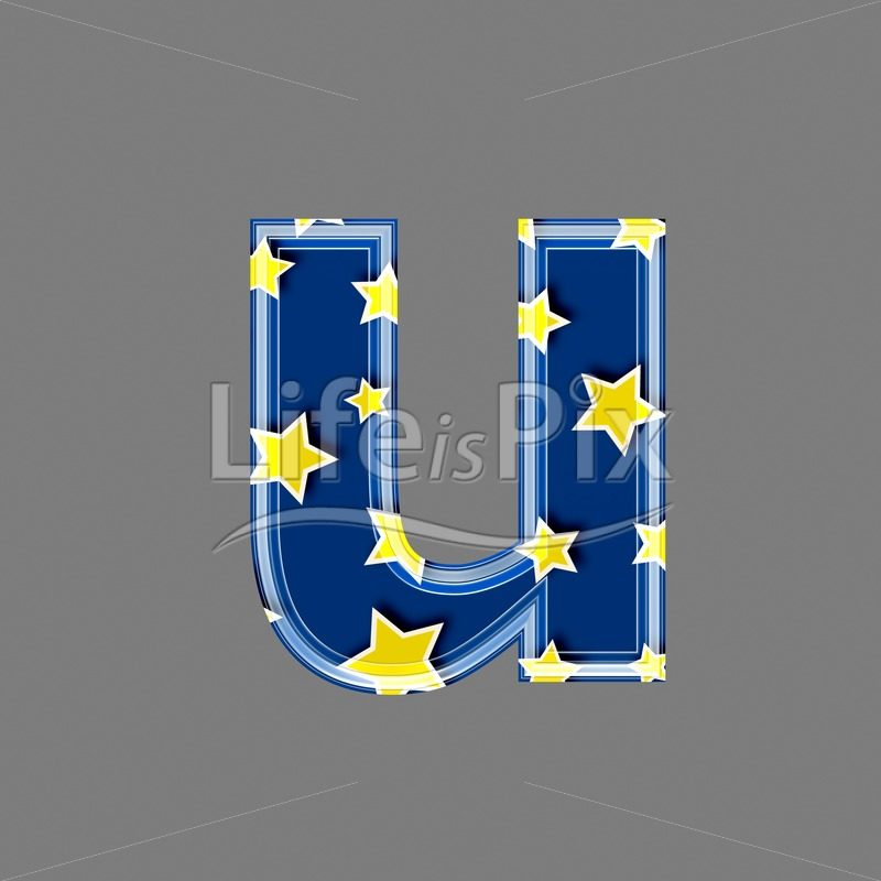 3d blue lowercase letter with star pattern – U – Royalty free stock photos, illustrations and 3d letters fonts