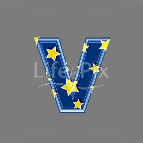 3d blue lowercase letter with star pattern – V – Royalty free stock photos, illustrations and 3d letters fonts