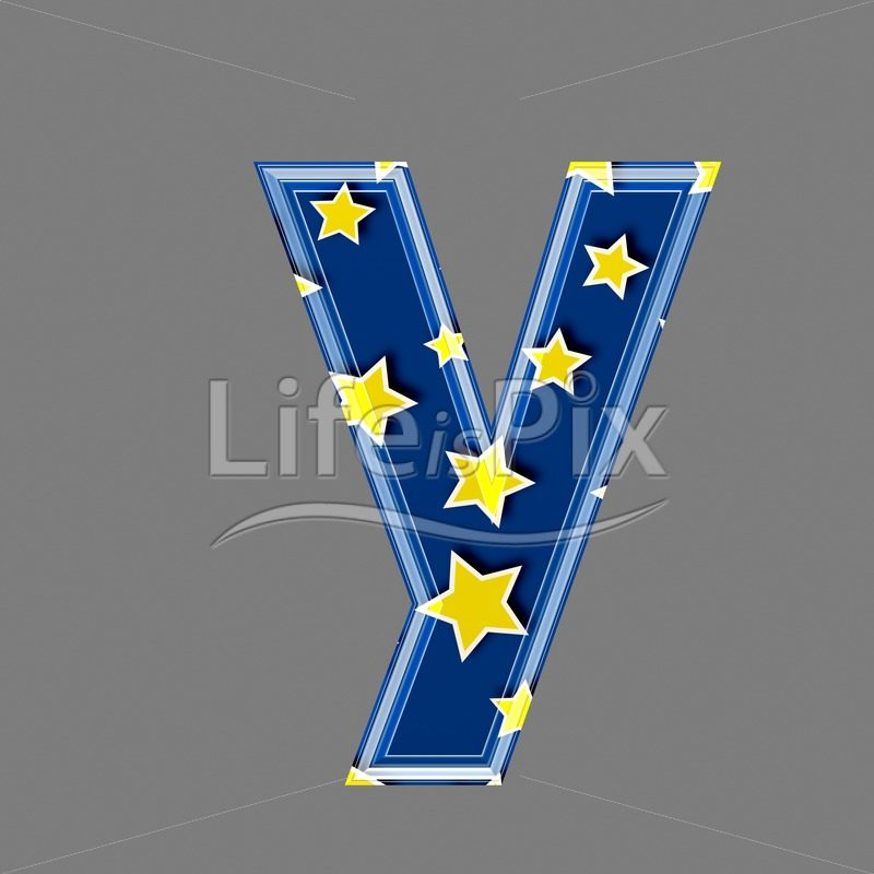 3d blue lowercase letter with star pattern – Y – Royalty free stock photos, illustrations and 3d letters fonts