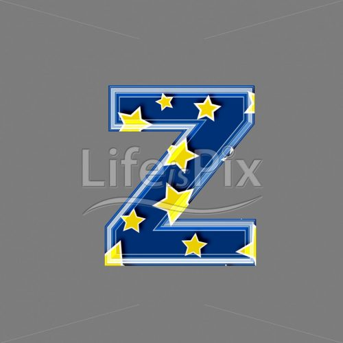 3d blue lowercase letter with star pattern – Z – Royalty free stock photos, illustrations and 3d letters fonts