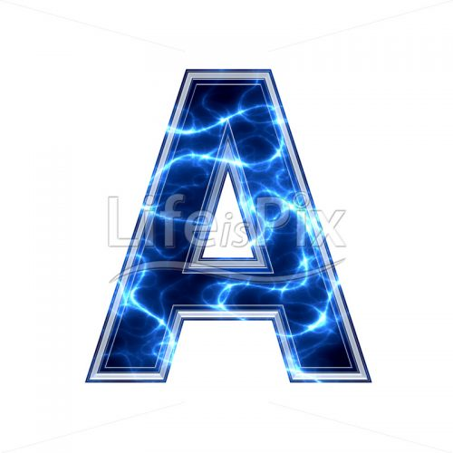 3d capital letter with blue lightning texture on white background – a - Royalty free stock photos, illustrations and 3d letters fonts
