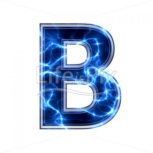 3d capital letter with blue lightning texture on white background – b - Royalty free stock photos, illustrations and 3d letters fonts
