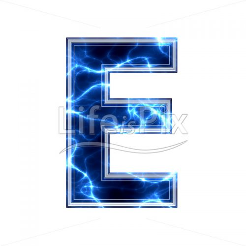 3d capital letter with blue lightning texture on white background – e - Royalty free stock photos, illustrations and 3d letters fonts