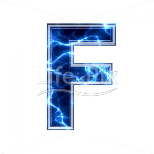 3d capital letter with blue lightning texture on white background – f - Royalty free stock photos, illustrations and 3d letters fonts