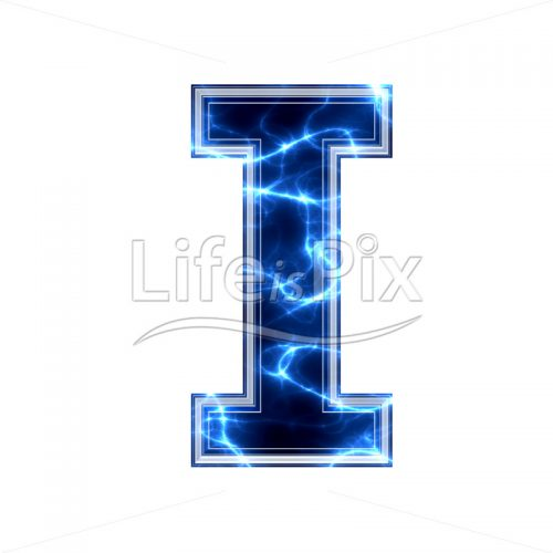 3d capital letter with blue lightning texture on white background – i - Royalty free stock photos, illustrations and 3d letters fonts