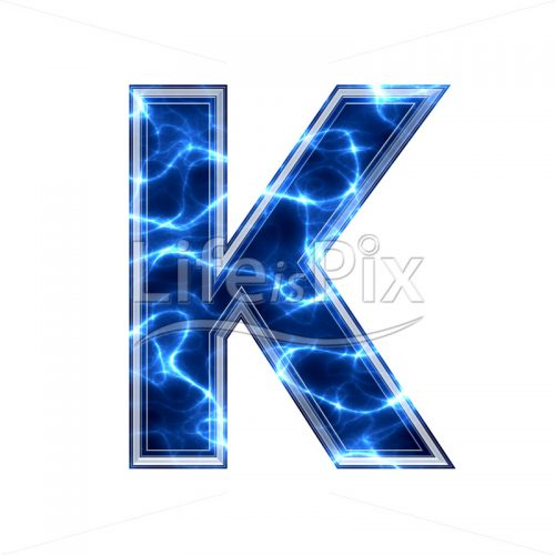 3d capital letter with blue lightning texture on white background – k - Royalty free stock photos, illustrations and 3d letters fonts