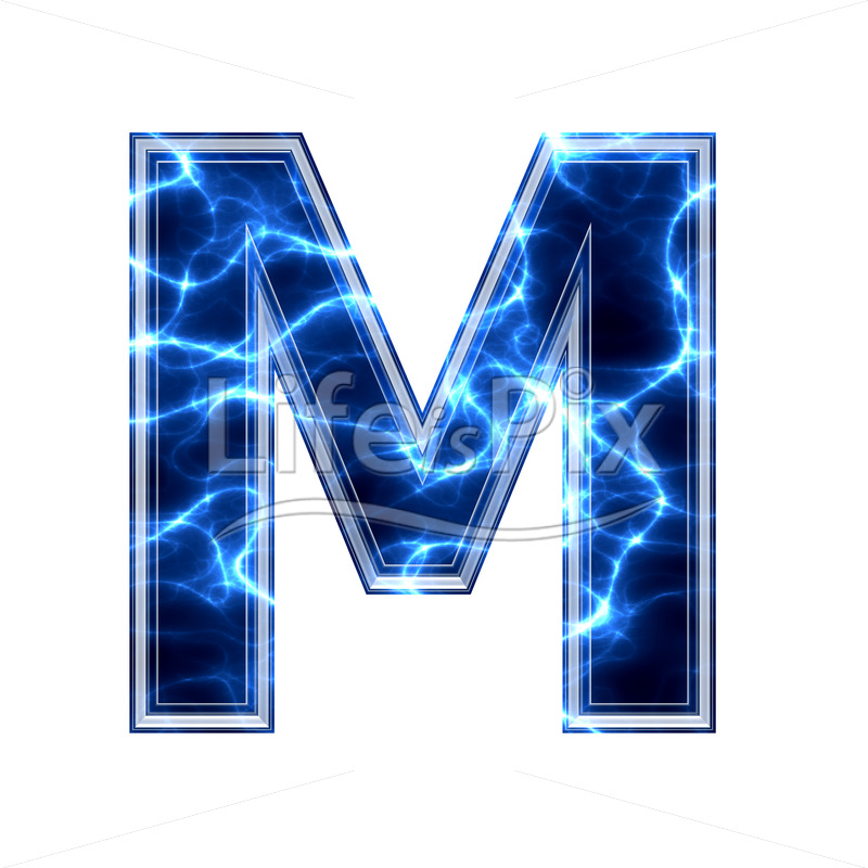 3d capital letter with blue lightning texture on white background