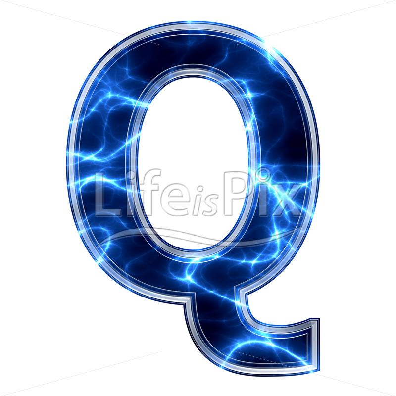 3d capital letter with blue lightning texture on white background – q - Royalty free stock photos, illustrations and 3d letters fonts