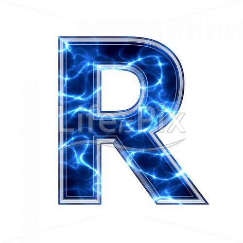 3d capital letter with blue lightning texture on white background – r - Royalty free stock photos, illustrations and 3d letters fonts