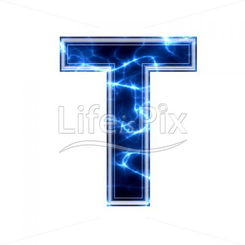 3d capital letter with blue lightning texture on white background – t - Royalty free stock photos, illustrations and 3d letters fonts