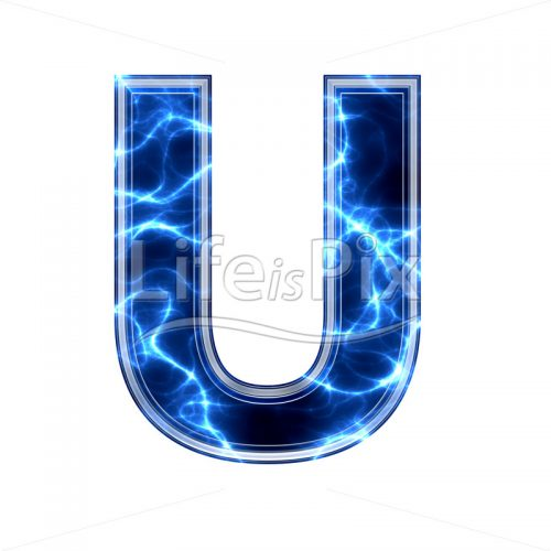 3d capital letter with blue lightning texture on white background – u - Royalty free stock photos, illustrations and 3d letters fonts