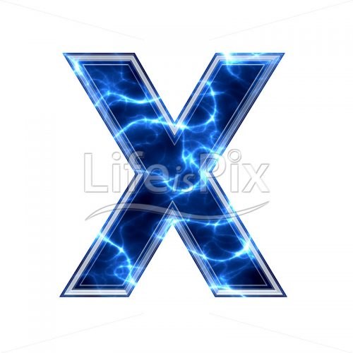 3d capital letter with blue lightning texture on white background – x - Royalty free stock photos, illustrations and 3d letters fonts