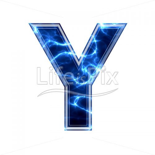 3d capital letter with blue lightning texture on white background – y - Royalty free stock photos, illustrations and 3d letters fonts
