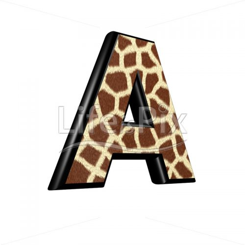 3d capital letter with giraffe fur texture – A - Royalty free stock photos, illustrations and 3d letters fonts