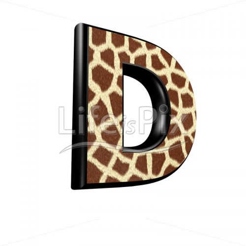 3d capital letter with giraffe fur texture – D - Royalty free stock photos, illustrations and 3d letters fonts