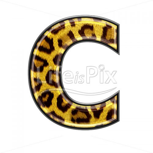 3d capital letter with panther skin texture – C – Royalty free stock photos, illustrations and 3d letters fonts