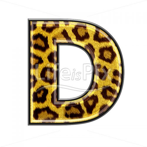 3d capital letter with panther skin texture – D – Royalty free stock photos, illustrations and 3d letters fonts