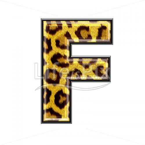 3d capital letter with panther skin texture – F – Royalty free stock photos, illustrations and 3d letters fonts