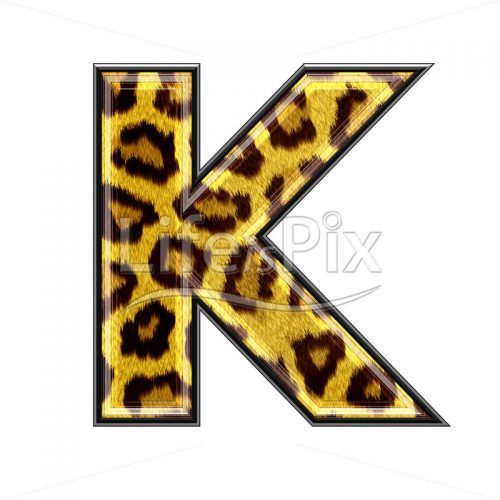 3d capital letter with panther skin texture – K – Royalty free stock photos, illustrations and 3d letters fonts