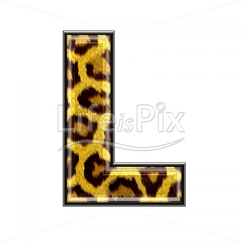 3d capital letter with panther skin texture – L – Royalty free stock photos, illustrations and 3d letters fonts