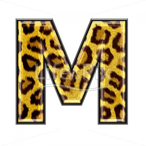 3d capital letter with panther skin texture – M – Royalty free stock photos, illustrations and 3d letters fonts