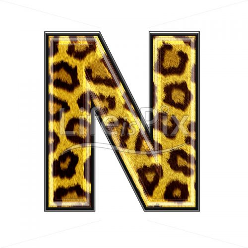 3d capital letter with panther skin texture – N – Royalty free stock photos, illustrations and 3d letters fonts