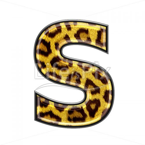 3d capital letter with panther skin texture – S – Royalty free stock photos, illustrations and 3d letters fonts
