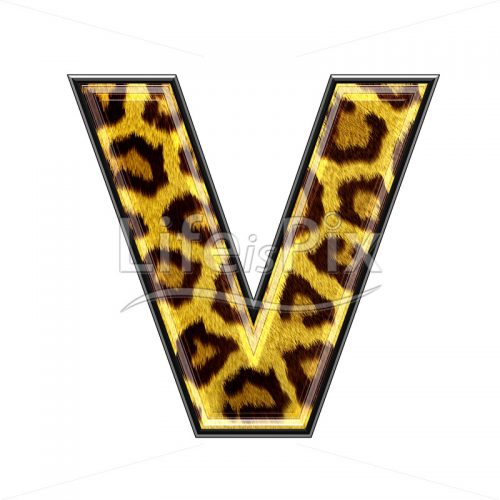 3d capital letter with panther skin texture – V – Royalty free stock photos, illustrations and 3d letters fonts