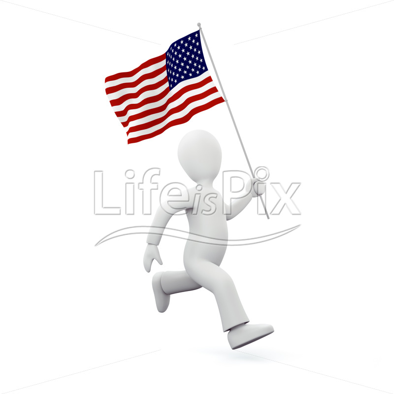 3d character with american flag - Royalty free stock photos, illustrations and 3d letters fonts