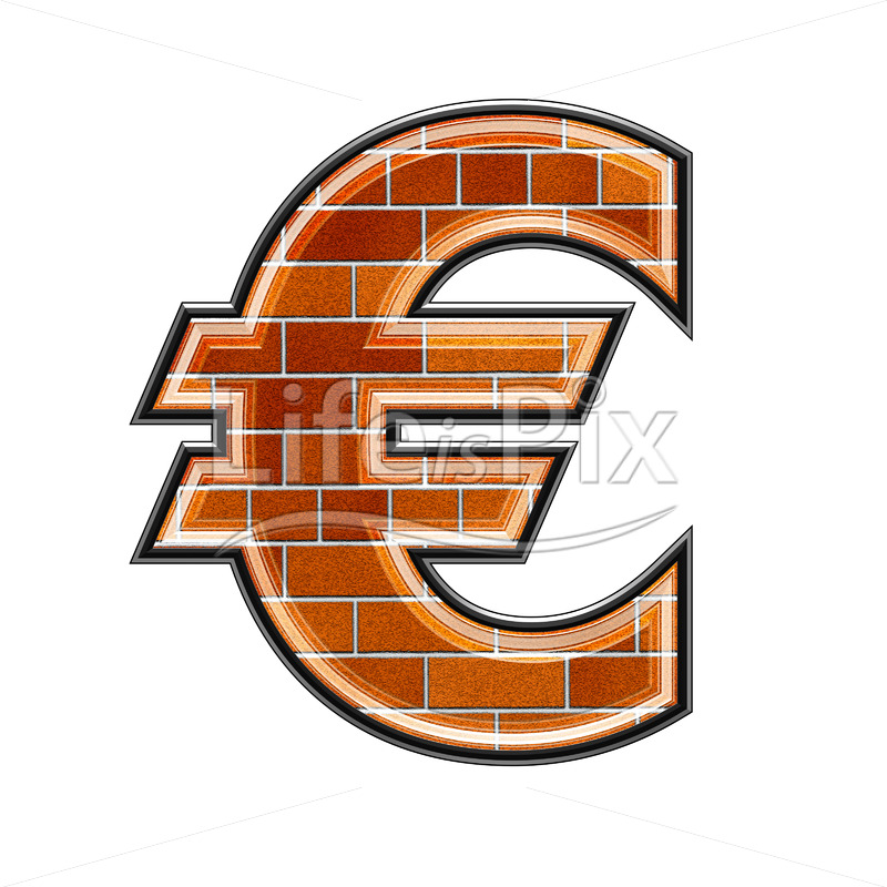 3d currency sign with brick wall texture – euros currency sign – Royalty free stock photos, illustrations and 3d letters fonts