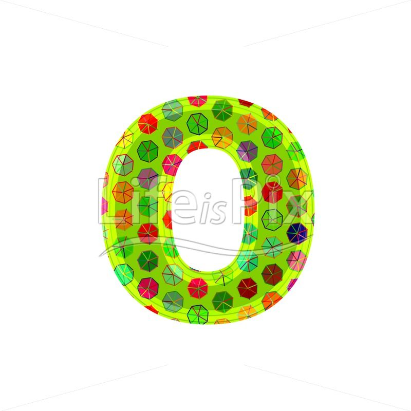 3d decorative letter with abstract pattern texture - o