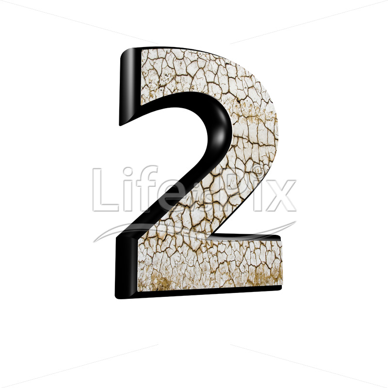 3d digit with cracked dry ground texture – 2 – Royalty free stock photos, illustrations and 3d letters fonts