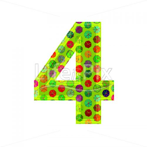 3d digit with decorative texture – 4 – Royalty free stock photos, illustrations and 3d letters fonts