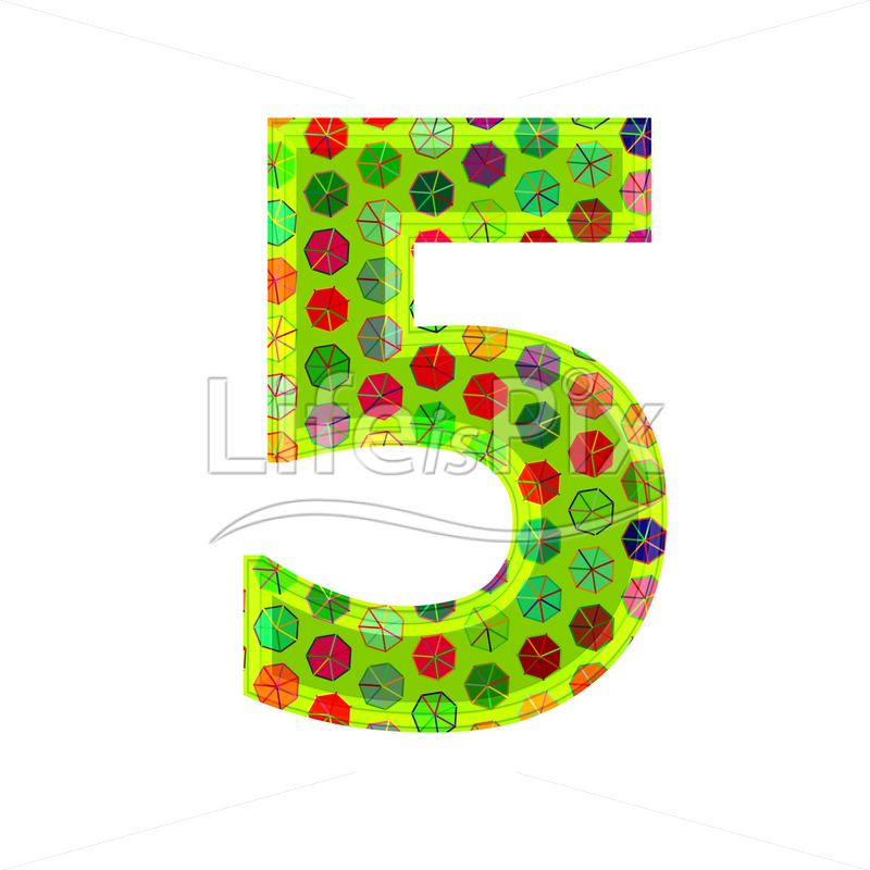 3d digit with decorative texture – 5 – Royalty free stock photos, illustrations and 3d letters fonts