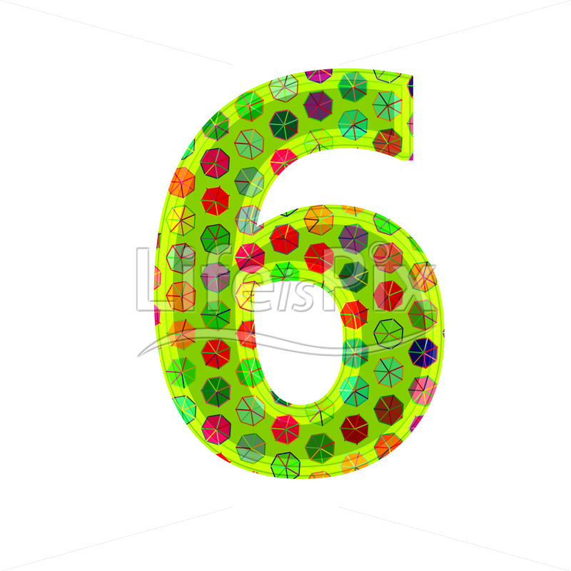 3d digit with decorative texture – 6 – Royalty free stock photos, illustrations and 3d letters fonts