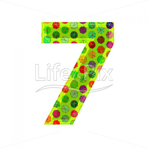 3d digit with decorative texture – 7 – Royalty free stock photos, illustrations and 3d letters fonts