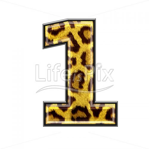 3d digit with panther skin texture – 1 – Royalty free stock photos, illustrations and 3d letters fonts