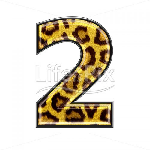 3d digit with panther skin texture – 2 – Royalty free stock photos, illustrations and 3d letters fonts