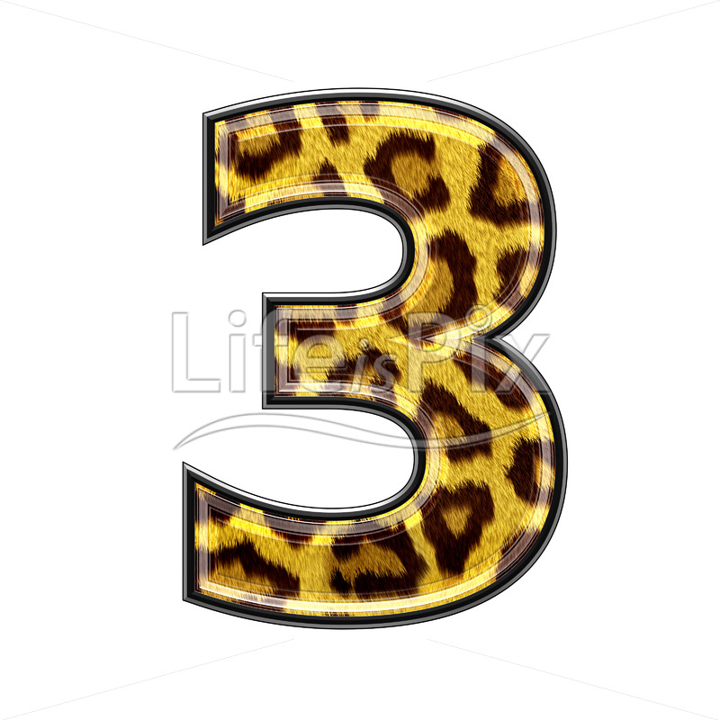 3d digit with panther skin texture – 3 – Royalty free stock photos, illustrations and 3d letters fonts