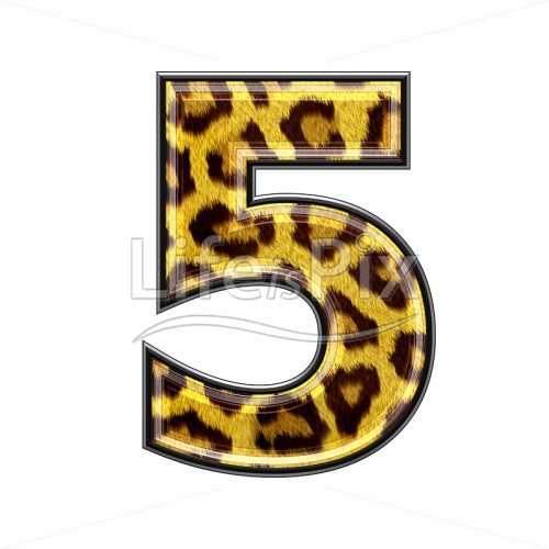 3d digit with panther skin texture – 5 – Royalty free stock photos, illustrations and 3d letters fonts