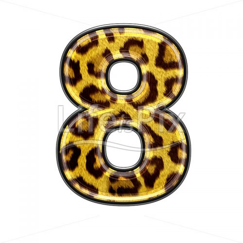 3d digit with panther skin texture – 8 – Royalty free stock photos, illustrations and 3d letters fonts