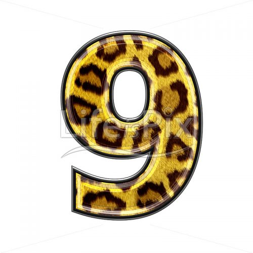 3d digit with panther skin texture – 9 – Royalty free stock photos, illustrations and 3d letters fonts