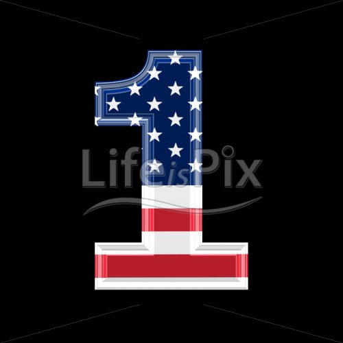 3d digit with us flag texture isolated on black background 1 - Royalty free stock photos, illustrations and 3d letters fonts