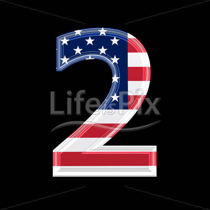 3d digit with us flag texture isolated on black background 2 - Royalty free stock photos, illustrations and 3d letters fonts