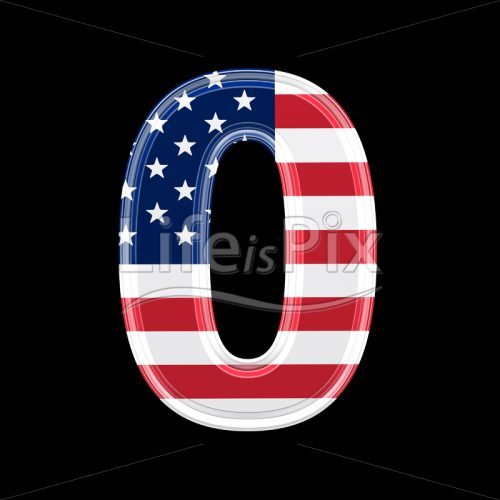3d digit with us flag texture isolated on black background – 0 - Royalty free stock photos, illustrations and 3d letters fonts