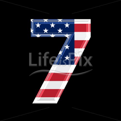 3d digit with us flag texture isolated on black background – 7 - Royalty free stock photos, illustrations and 3d letters fonts