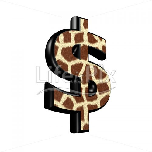 3d dollar currency sign with giraffe fur texture – Royalty free stock photos, illustrations and 3d letters fonts